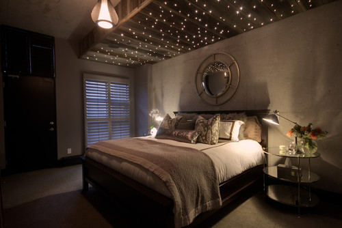 optical fiber lights in modern bedroom